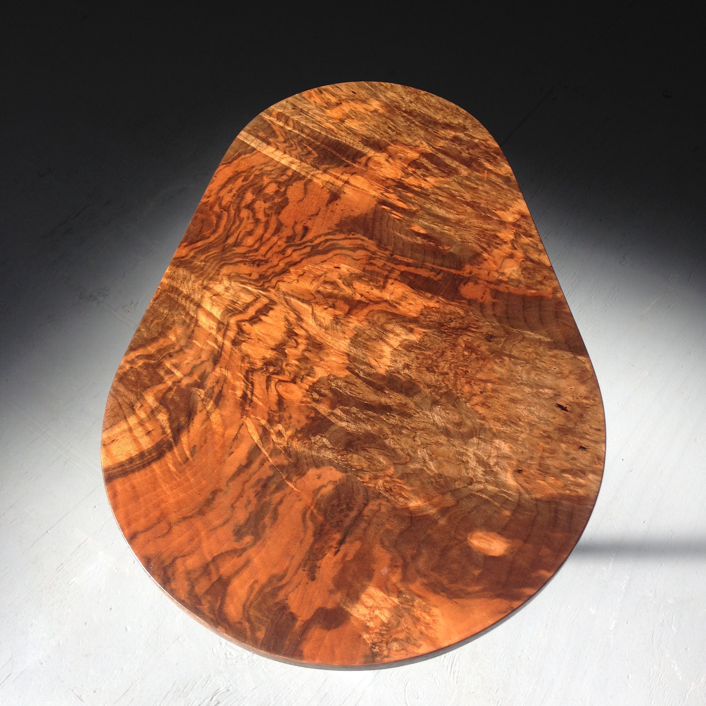 "Walnut burl top  22"" H x 15"" W x 15"" D"