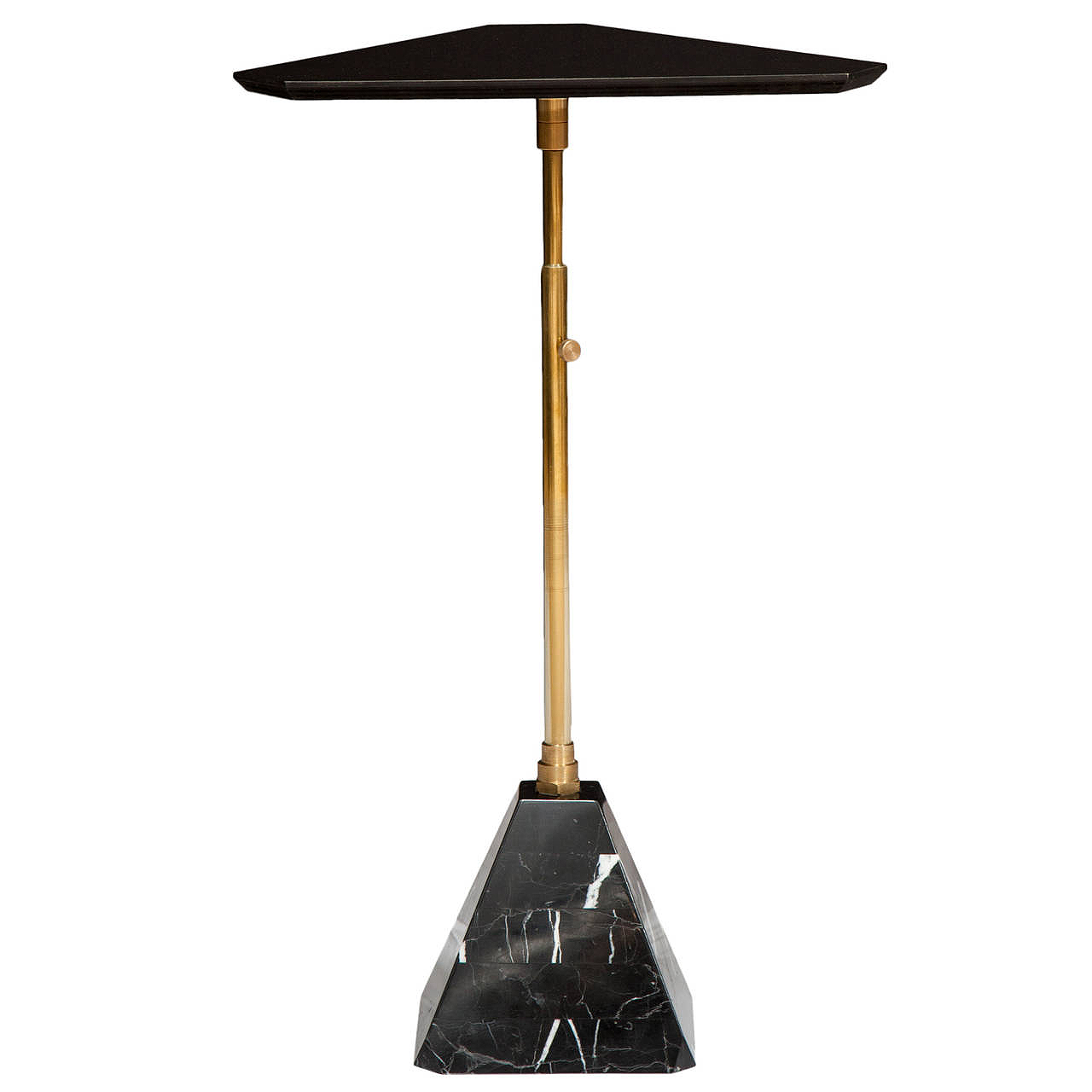 "Black colorfin top   Telescoping brass post   Nero Marquina marble base  22"" H x 15"" W x 15"" D"