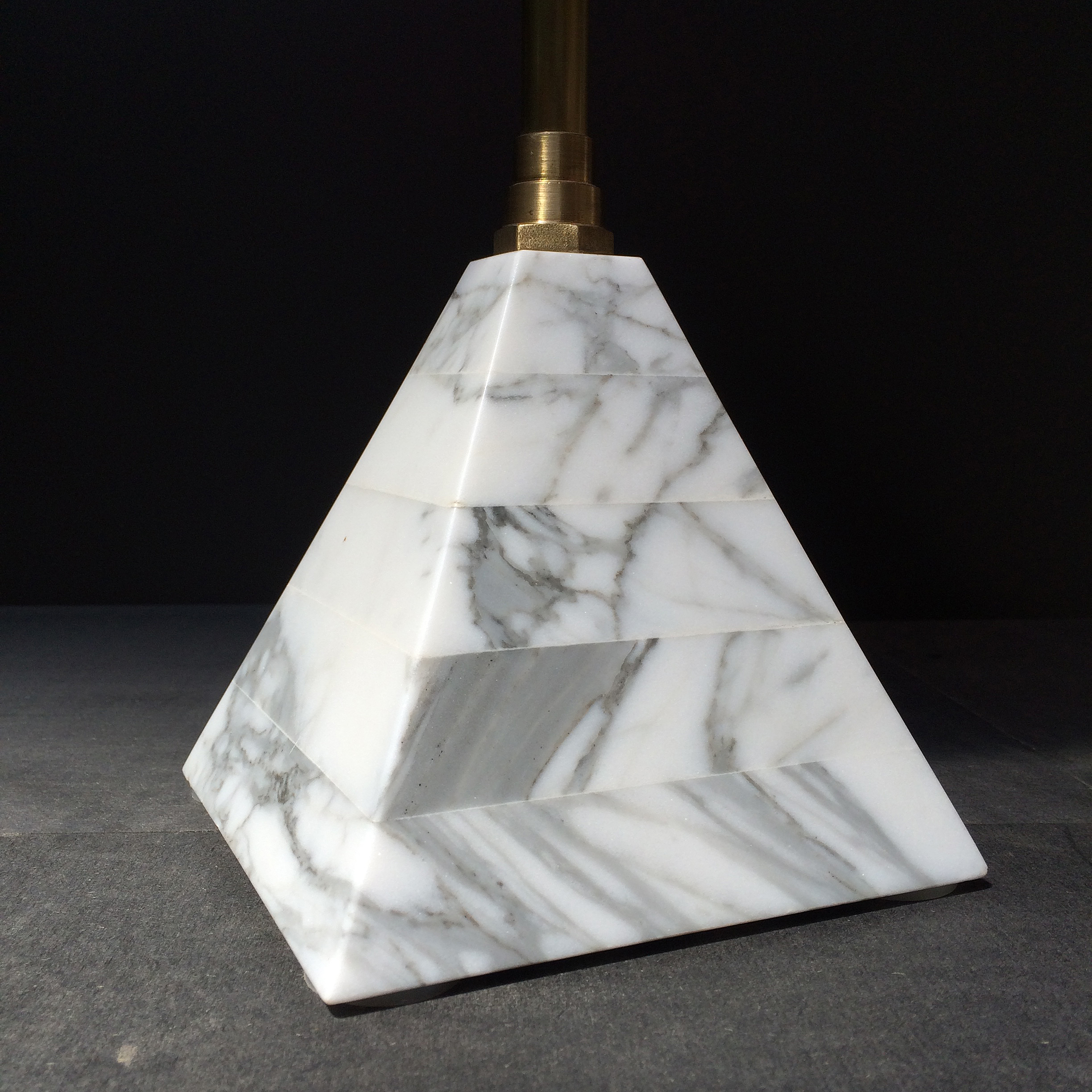 Statuary marble pyramid base