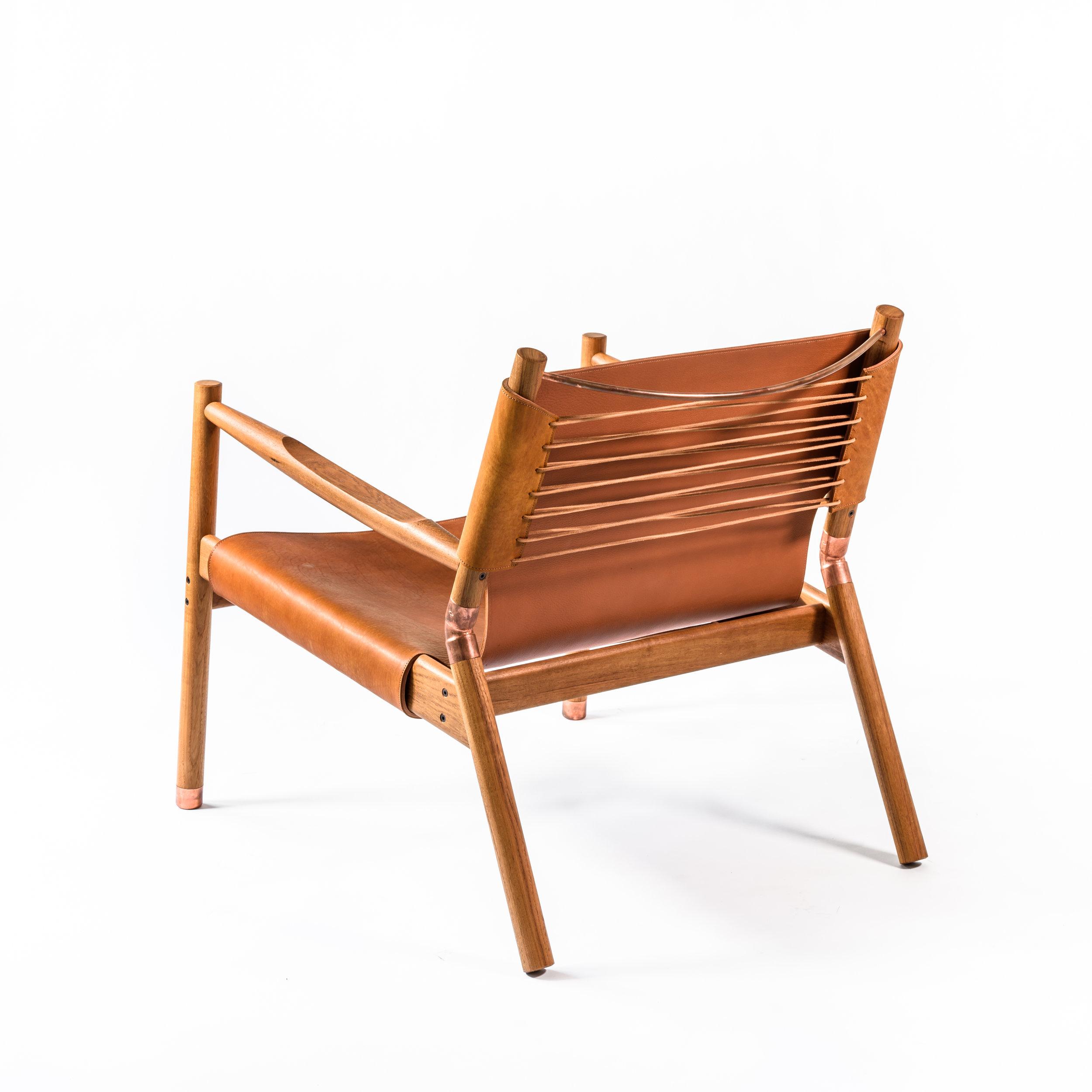 "Saddle leather Teak Raw copper & Leather cord 28""H x 28"" W x 31""D"