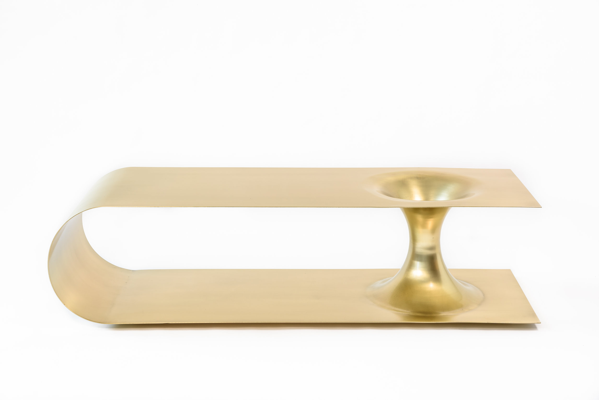 """Brass plated steel   Brushed finish 60"""" L x 20"""" D x 15.5"""" H"""