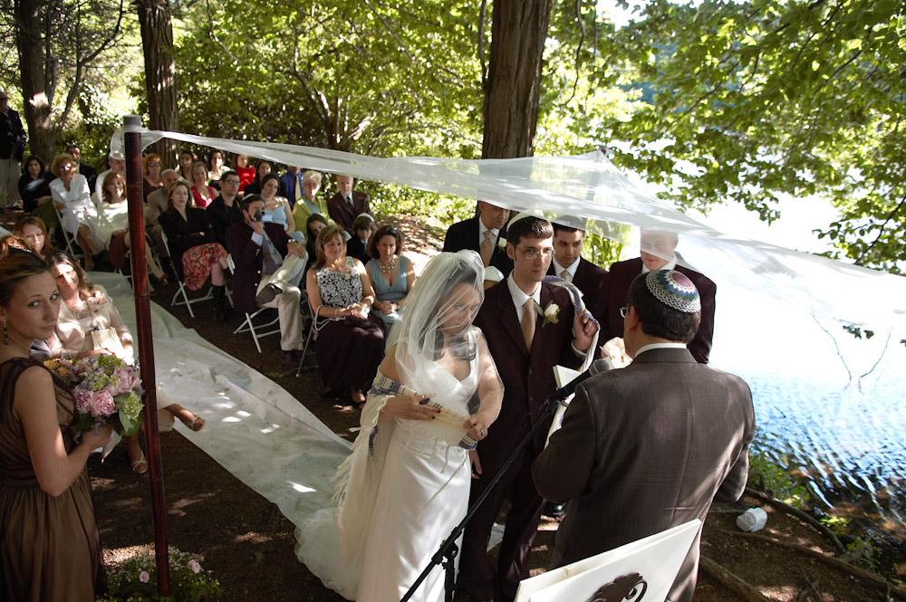 Bride and groom under hupa