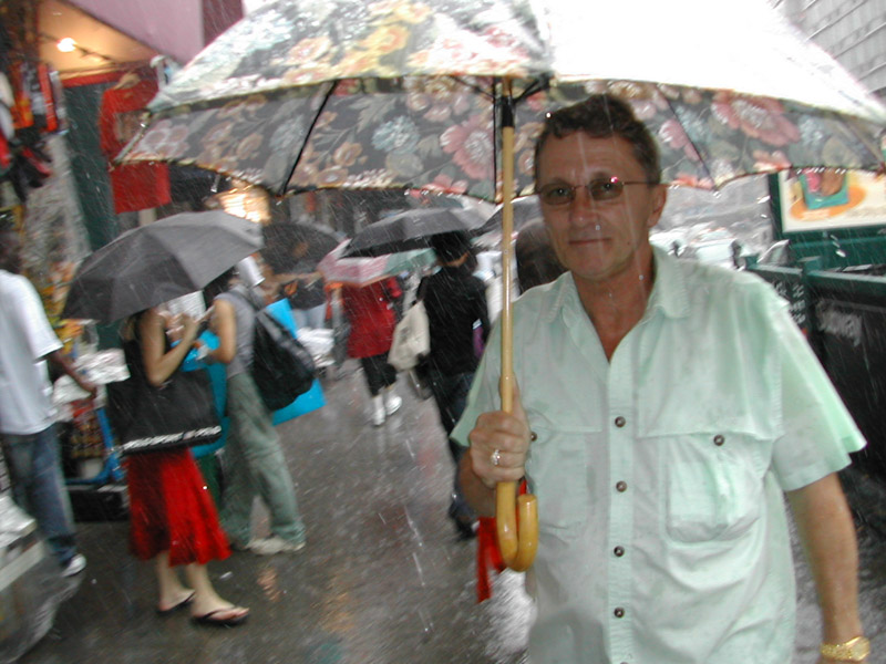 Jerry was always prepared with a fancy umbrella
