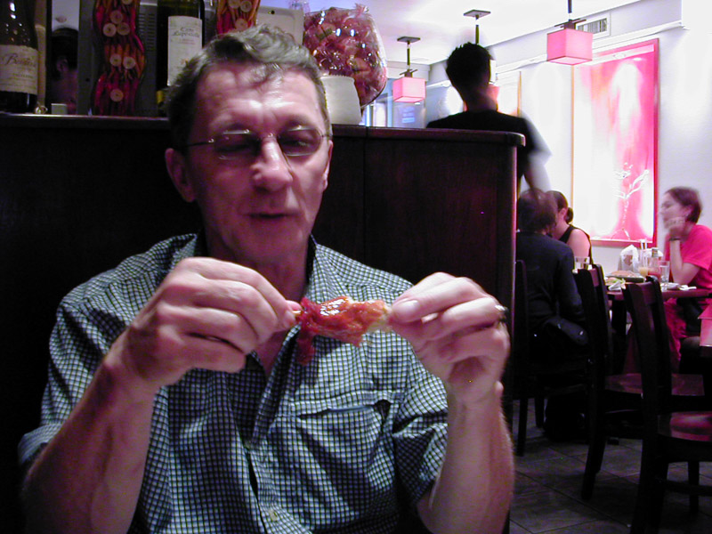 I took Jerry to the Red Bamboo vegetarian restaurant, where he got to try out vegan drumsticks... I am not sure he was impressed!