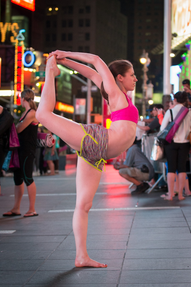 Natarajasana after dark at Solstice in Times Square