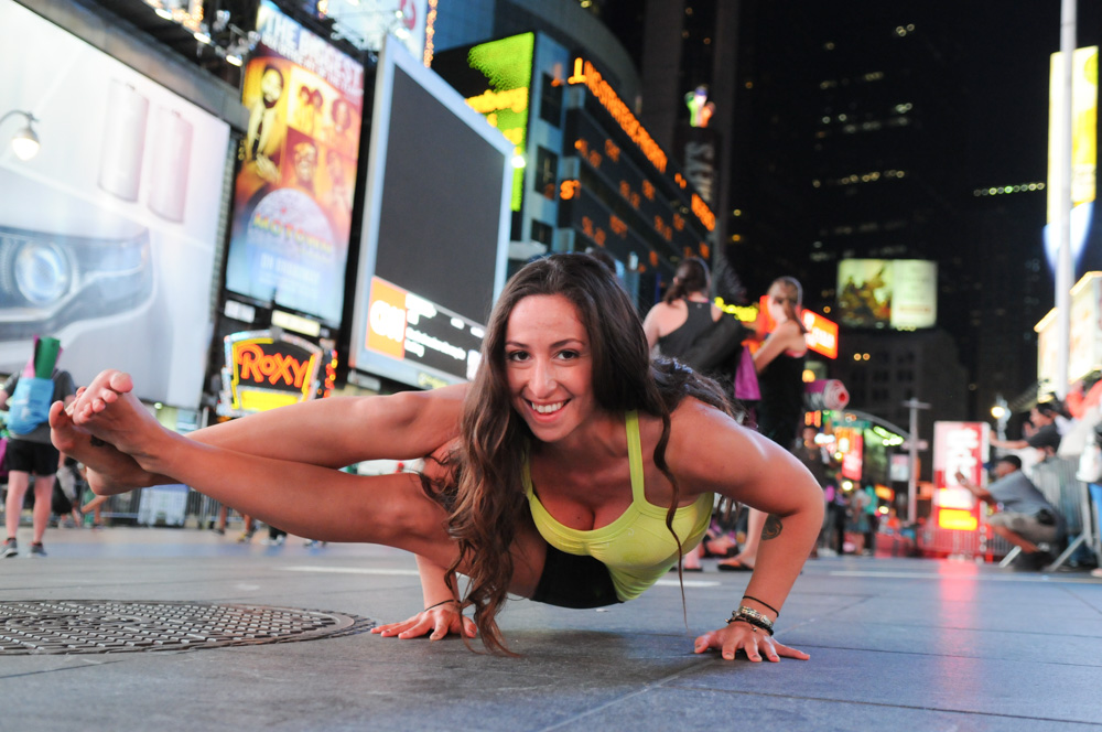 Astavakrasana (Eight-Angle Pose) at Solstice in Times Square