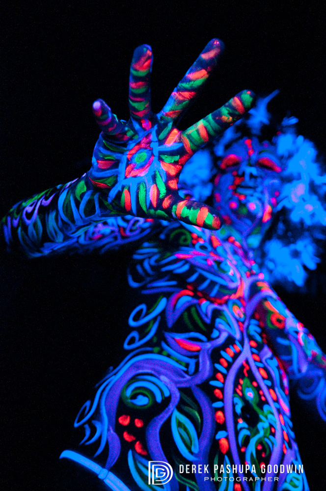black light photograph hand with third eye