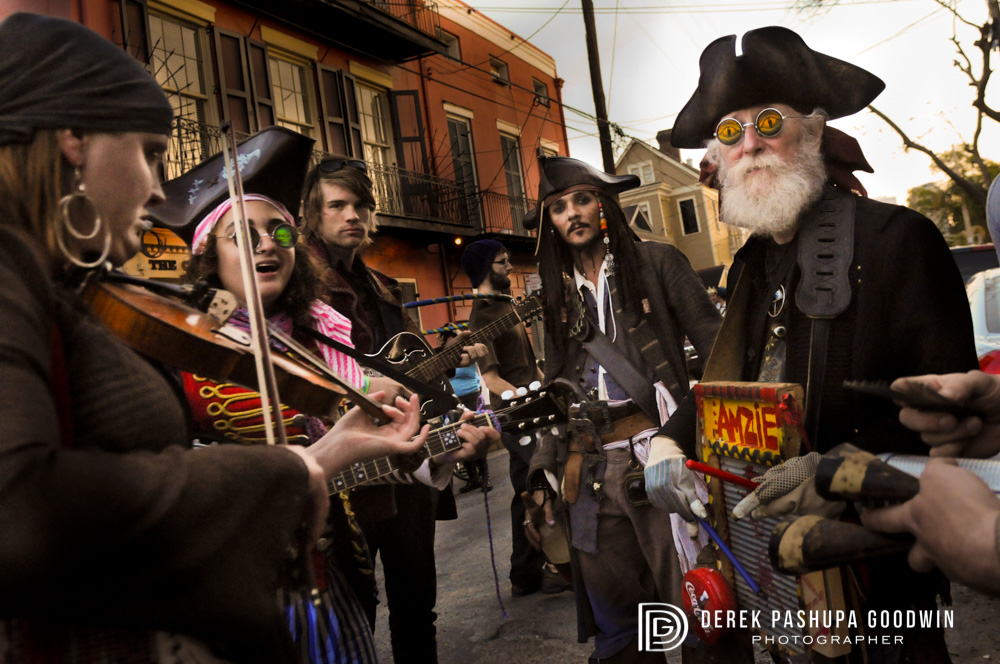 A swarthy band of musicians at the Pirate Parade in New Orleans