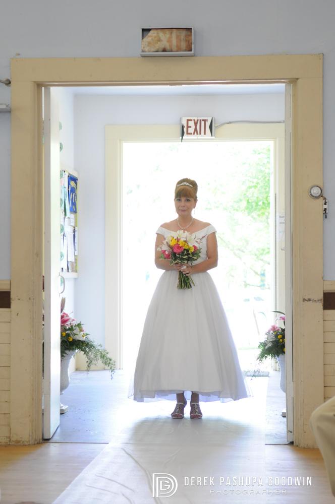 The bride entering the church
