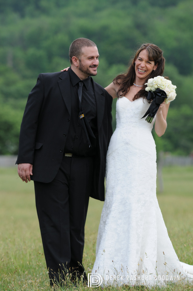 groom gets a smile from his bride