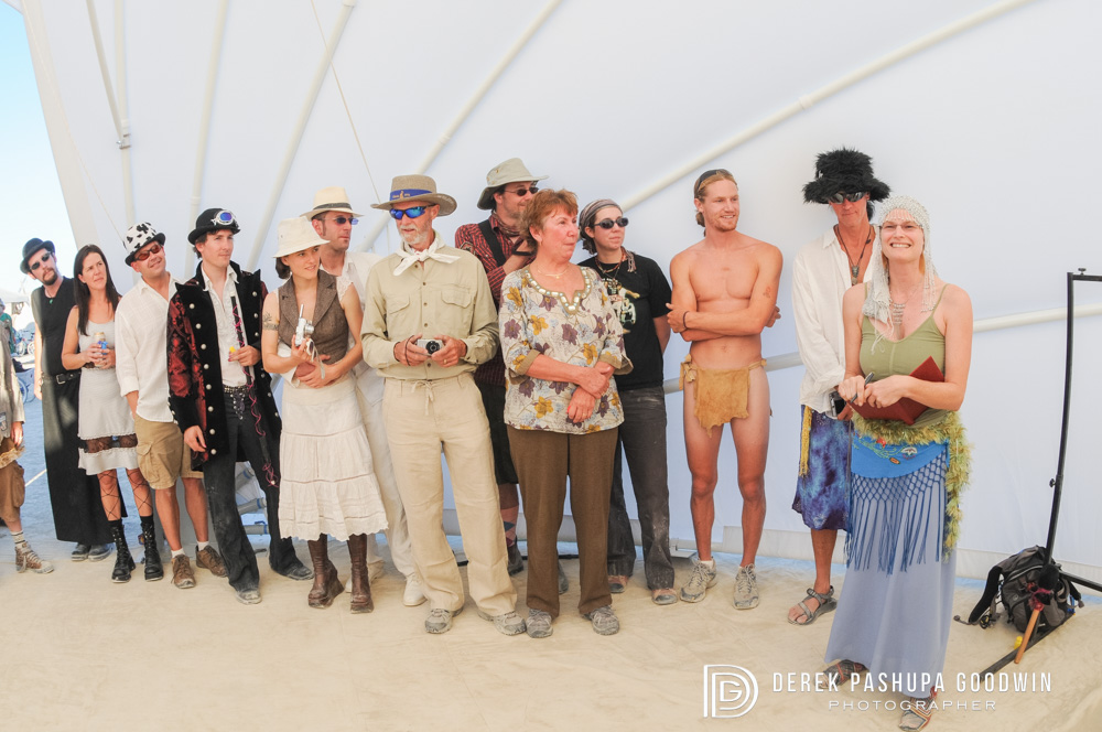 the wedding guests in costume at ceremony