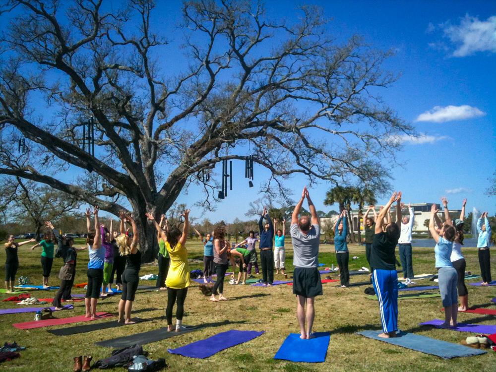 108 sun salutations beneath the  Singing Oak , City Park New Orleans