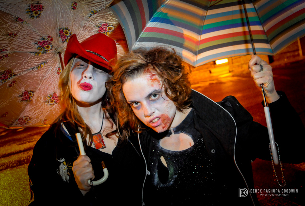 Megan and Alicia, vegan zombies at 2009 Northampton Vegan Pub Crawl.