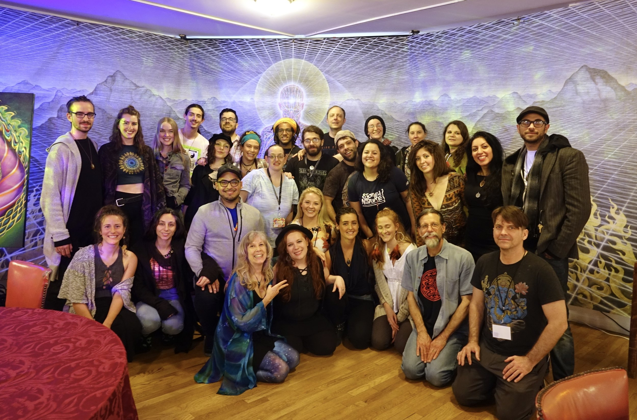 "Volunteering at COSM - This is from April 2019 full moon at COSM, where I volunteered in the Mushroom Cafe. I have been a fan of the artwork of Alex Grey since I started visiting NYC in the aughts, when the full moon gatherings were held in Manhattan. I have been yearning to be a part of this community and this is my first step at making that happen.""CoSM stands for Chapel of Sacred Mirrors. The Sacred Mirrors, a series of artworks by Alex Grey, allow us to see ourselves and each other as reflections of the divine. The mission of CoSM is to build a sacred temple to inspire a global community and leave a legacy of our creative spiritual generation."""
