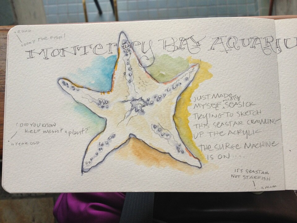 Sketching and recording what I hear from visitors while at Monterey Bay Aquarium, July 27th, 2012.