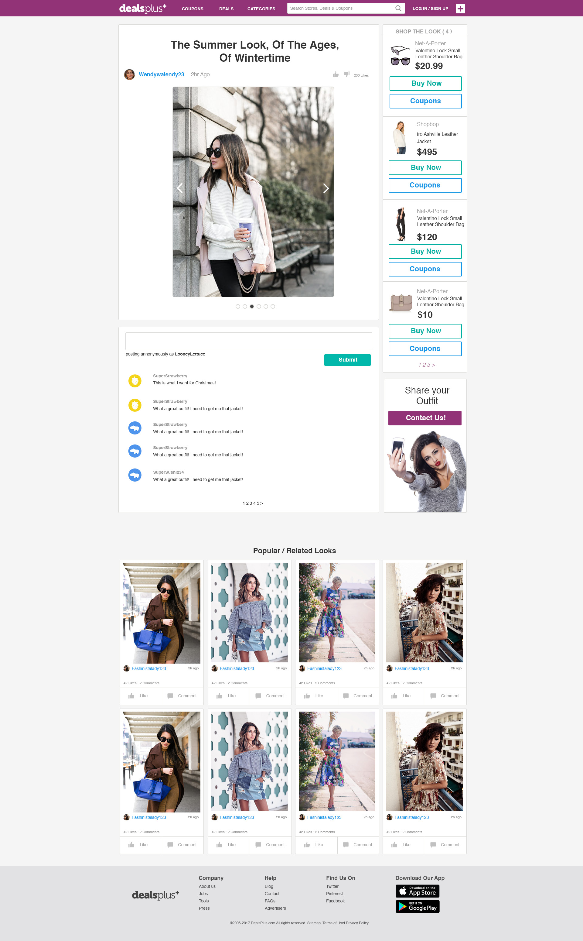 Shop The Look (The backend would retrieve the items listed from the Influencer's post)