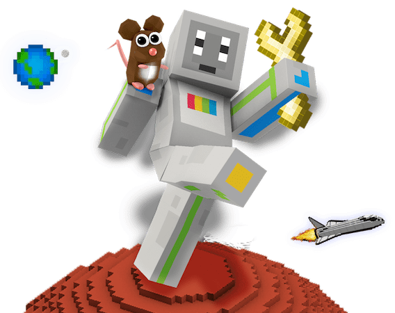 Pip and PiperBot - Our Characters based on Minecraft: Pi Edition