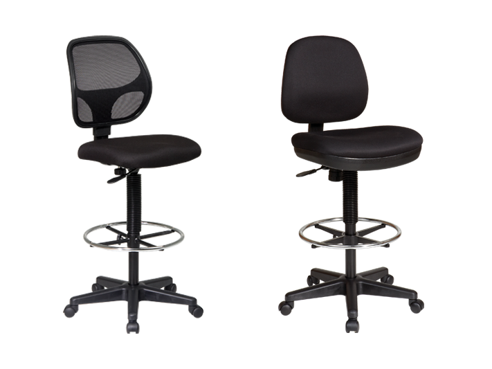 The DC2990 Deluxe Mesh Back and DC800 Contemporary Drafting Chairs