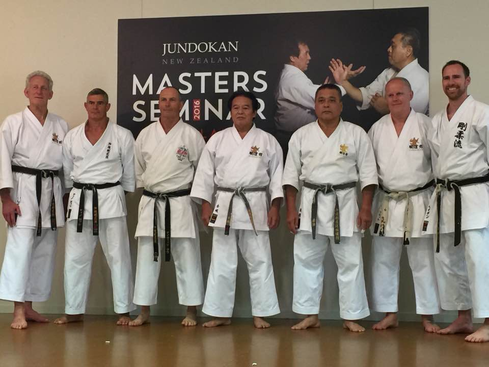 New Zealand and Australia Shibucho (left to right) Bryan Williams, Tino Rossi, David Low, KinJo-sensei, Gima-sensei, Paul Allott and Hayden Wilmott.