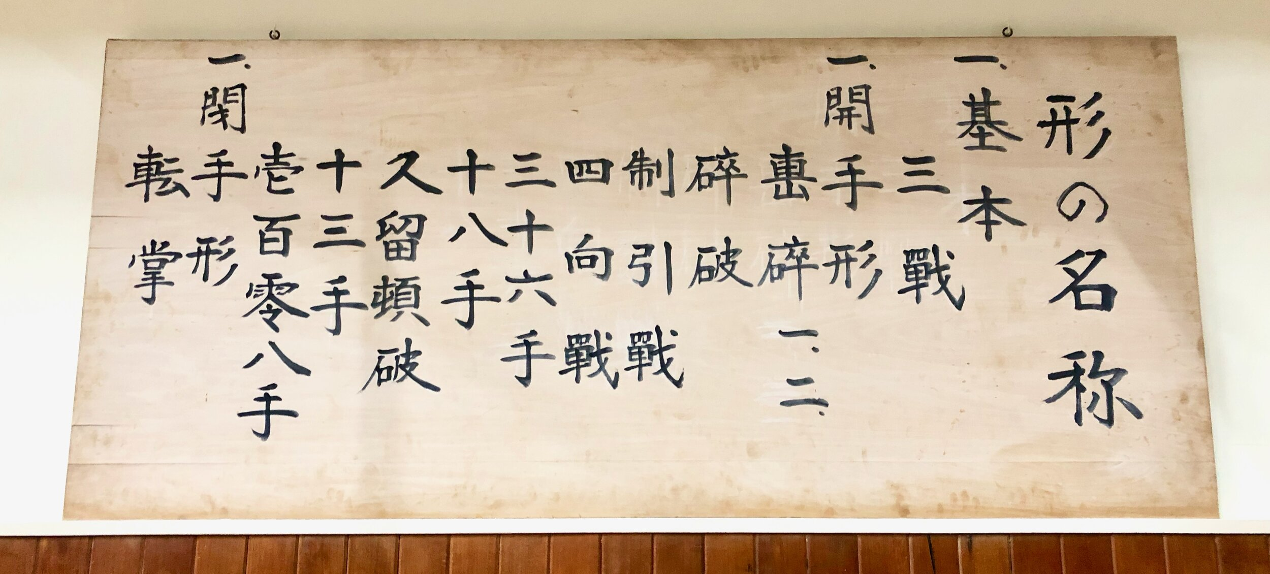 The Kata names hanging in the Jundokan Dojo