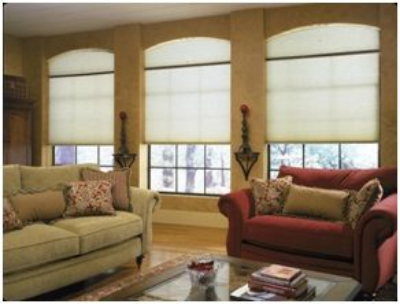 Arch top windows can be handled easily with honeycomb shades
