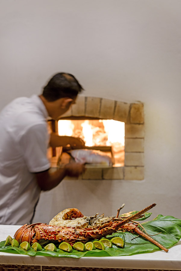 Fresh lobster cooked in the wood-fired pizza ovens