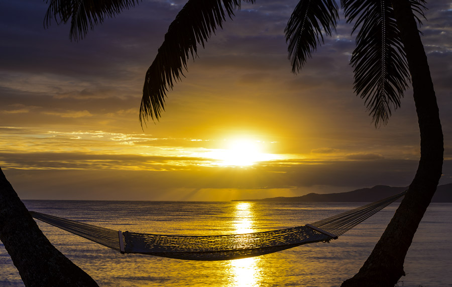 Sunrise over Taveuni Island at The Remote Resort, Fiji Islands