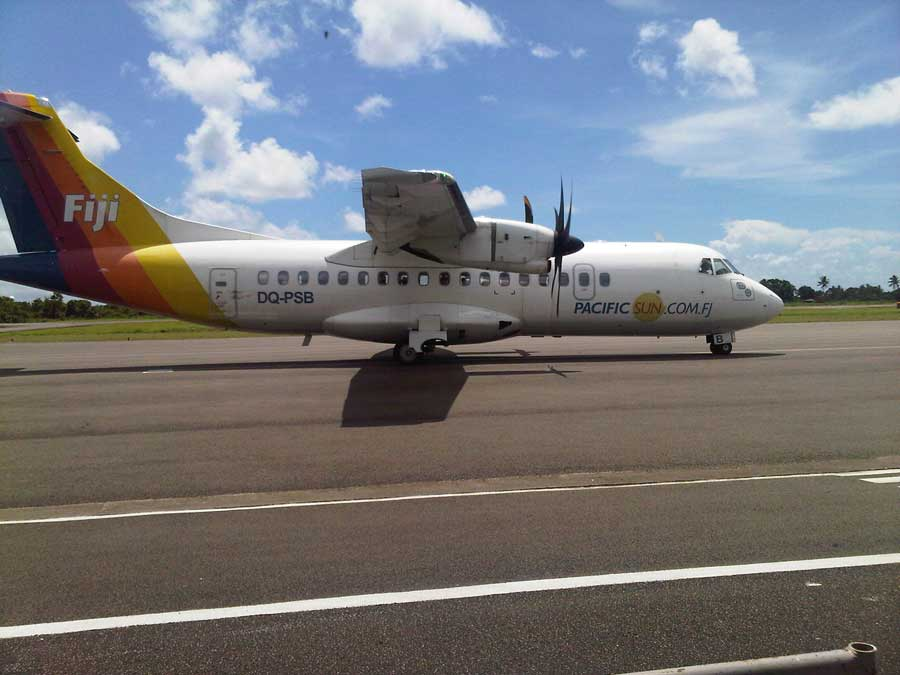 Nadi to Taveuni on Fiji Airways domestic airline - Fiji Link. Fiji Airways flies to Taveuni or Savusavu with 2 to 3 flights daily on their fleet of Twin Otter aircrafts.