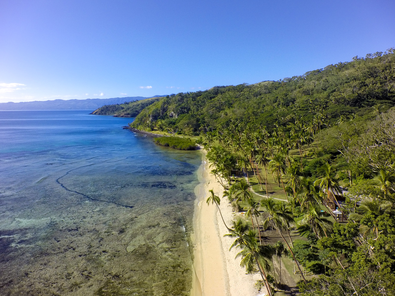 Aerial of the beach - The Remote Resort Fiji Islands