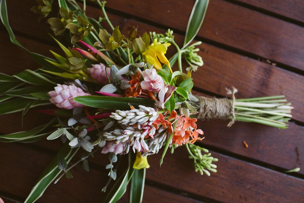 Fiji Wedding Bouquet - Luxury Fiji Wedding or Elopement - The Remote Resort Fiji Islands - Off the beaten path ceremonies - Tropical Flowers