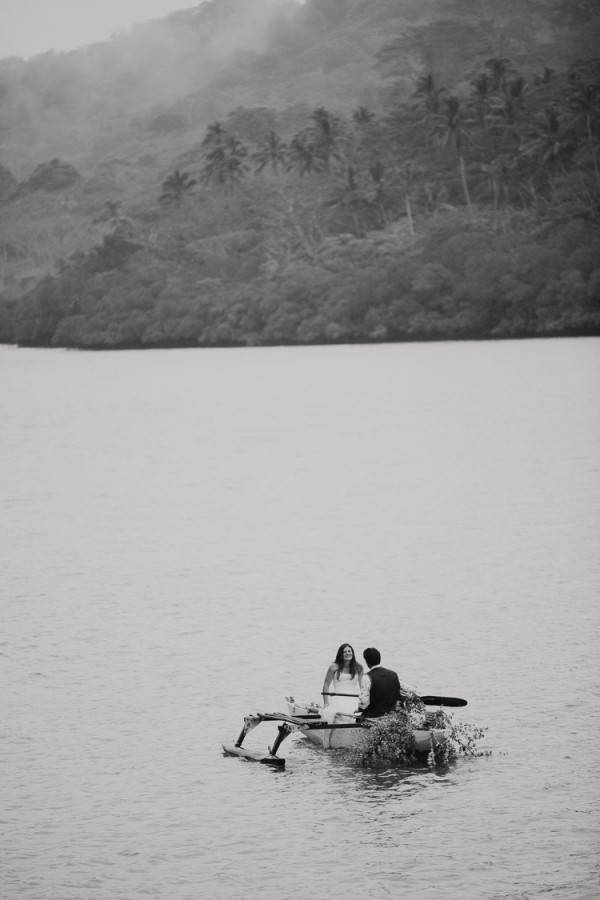 Fiji Wedding Ceremony - Fiji Beach Wedding Elopement - The Remote Resort Fiji Islands - Hidden Beach Wedding Photographs - Outrigger Boat Canoe