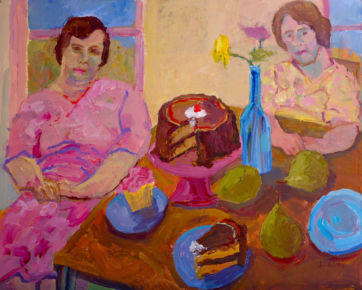 Sisters with Cake,16 x 20,acrylic on canvas