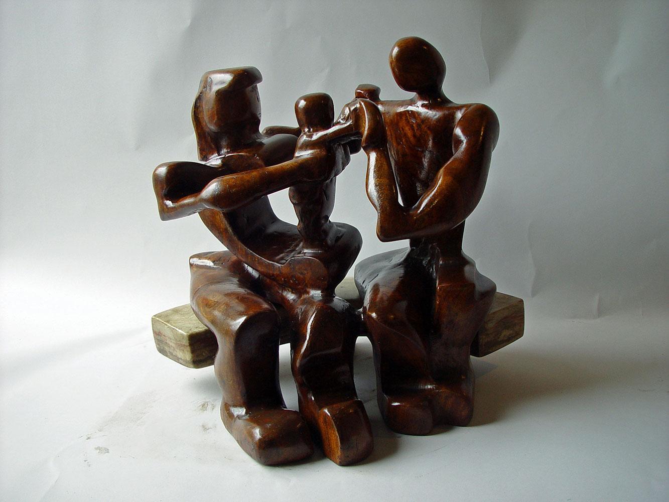 """Family"", Avocado Wood with Alabaster (stone) Bench, 23""x22""x17"""