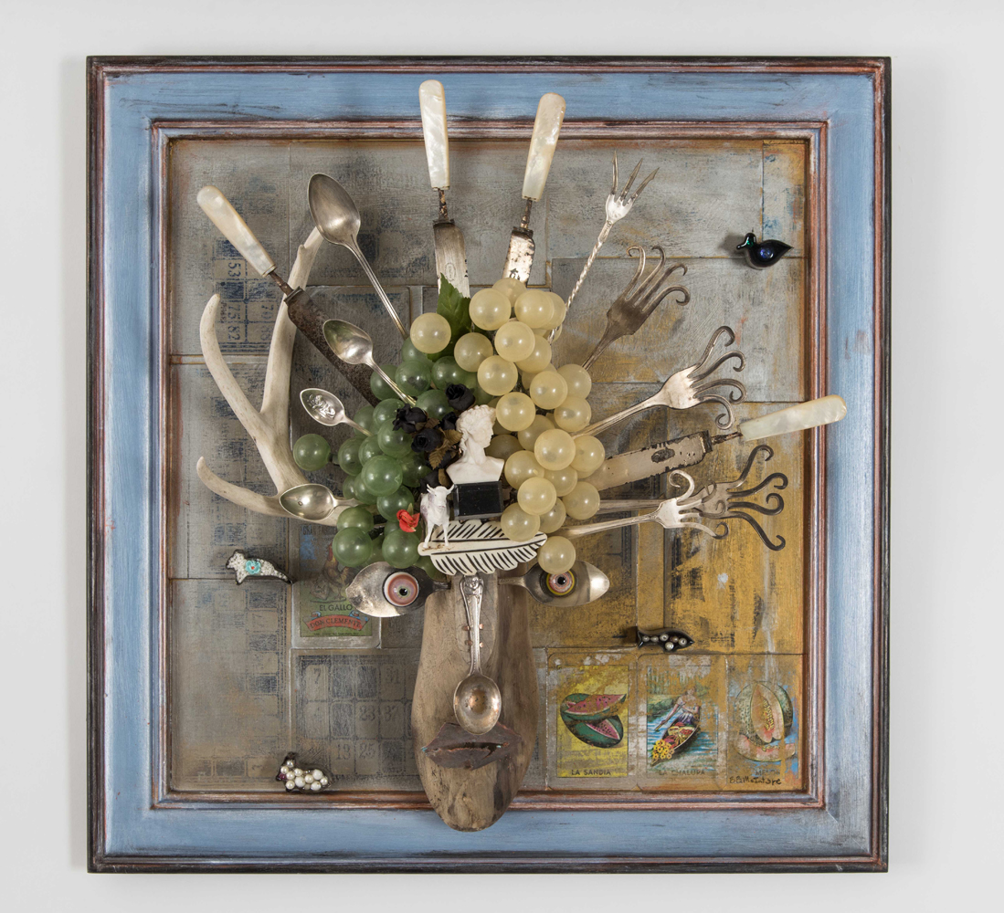 More Vino Yes Please, assemblage, 22x22x6