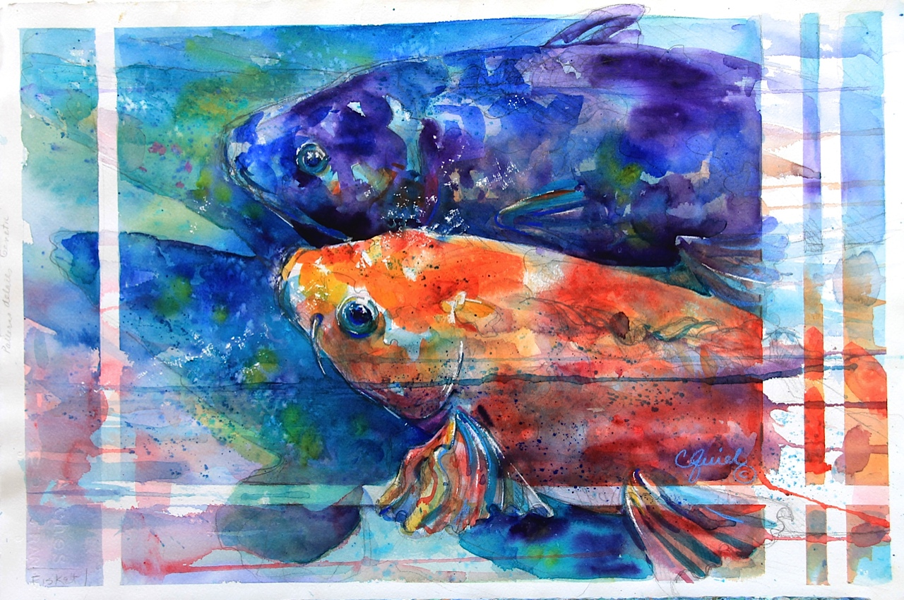 WATER COMES WITH FISH INSIDE, Watercolor,15 x 22 inches