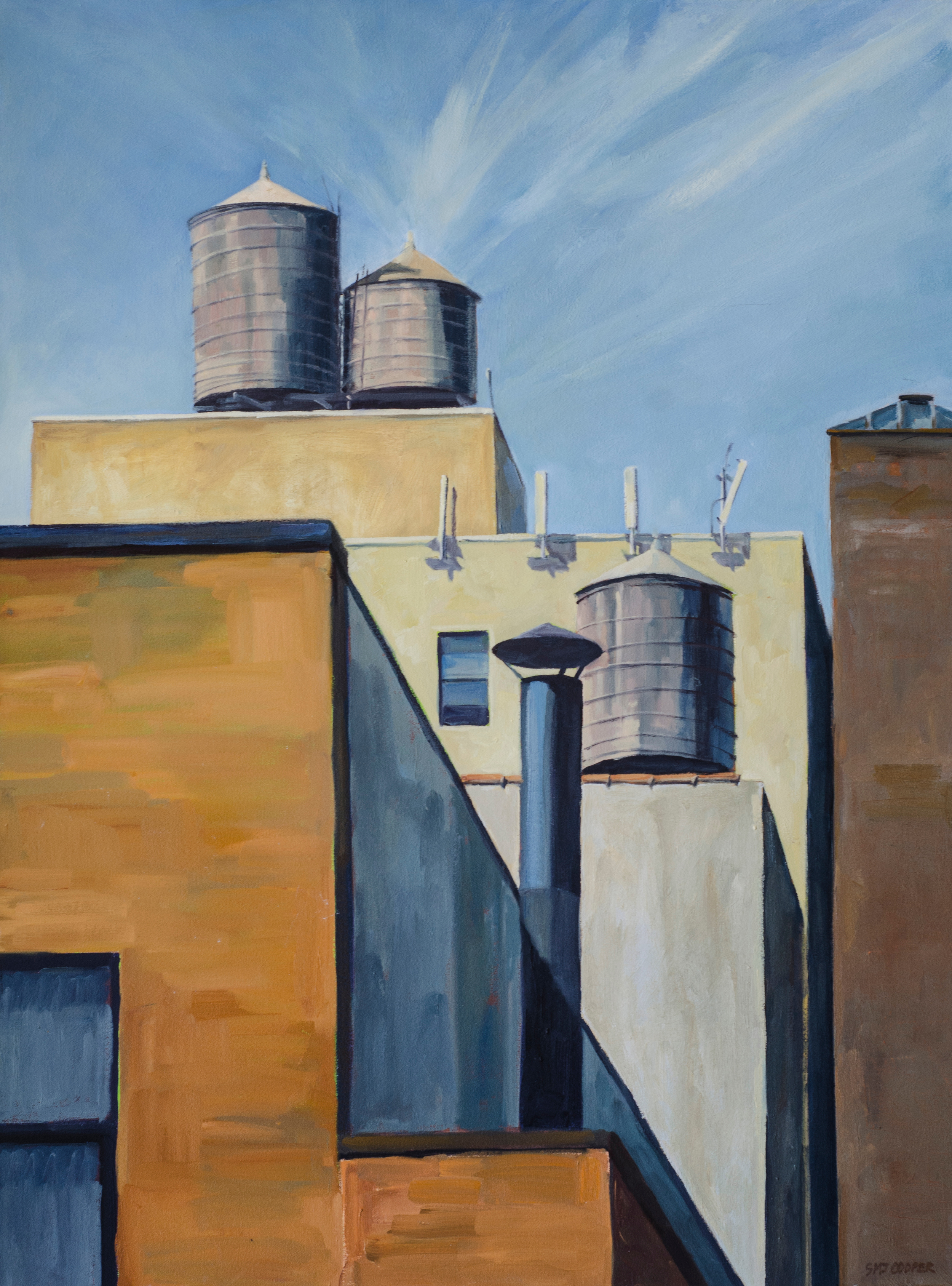 "Three Tanks and Chimney, No. 5, oil on canvas, 40"" x 30"""