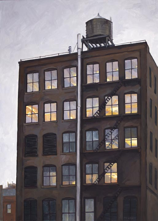 "Chelsea Brownstone, No. 6, oil on canvas, 42"" x 30"
