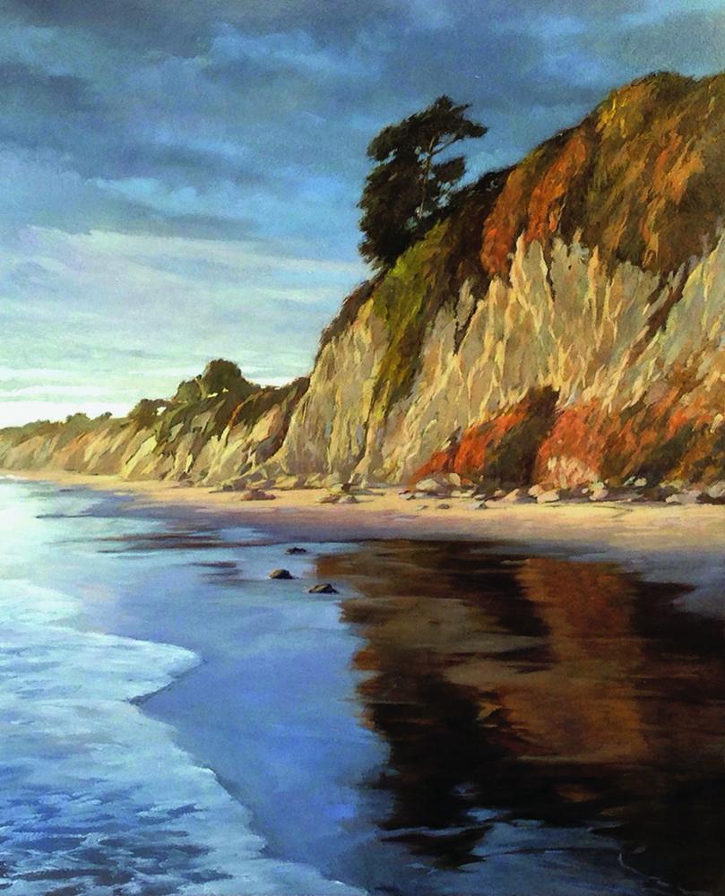 Shoreline Glow, oil-board, 20x16
