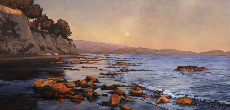 Moonlit Sunset, oil-board,14 x 29