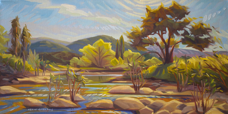 """Afternoon on the Santa Ynez River, Oil on Canvas 12x24"""""""