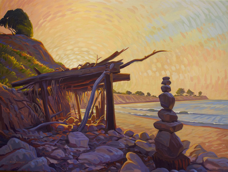 """Beach Shack and Rock Stack, Oil on Canvas, 36x48"""""""