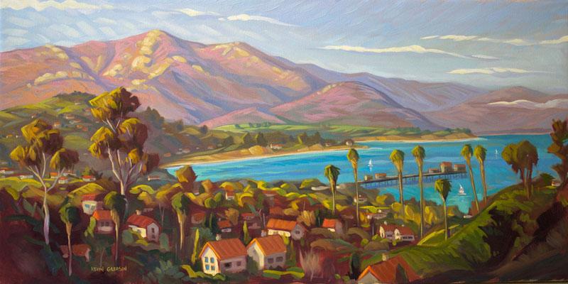 "Santa Barbara Harbor View, Oil on Canvas 20x48"""