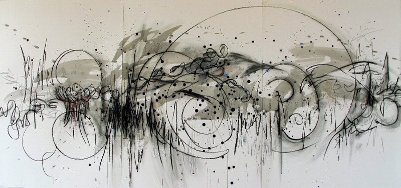 "Desert Music     46""x 93""       Ink, graphite, charcoal, enamel"