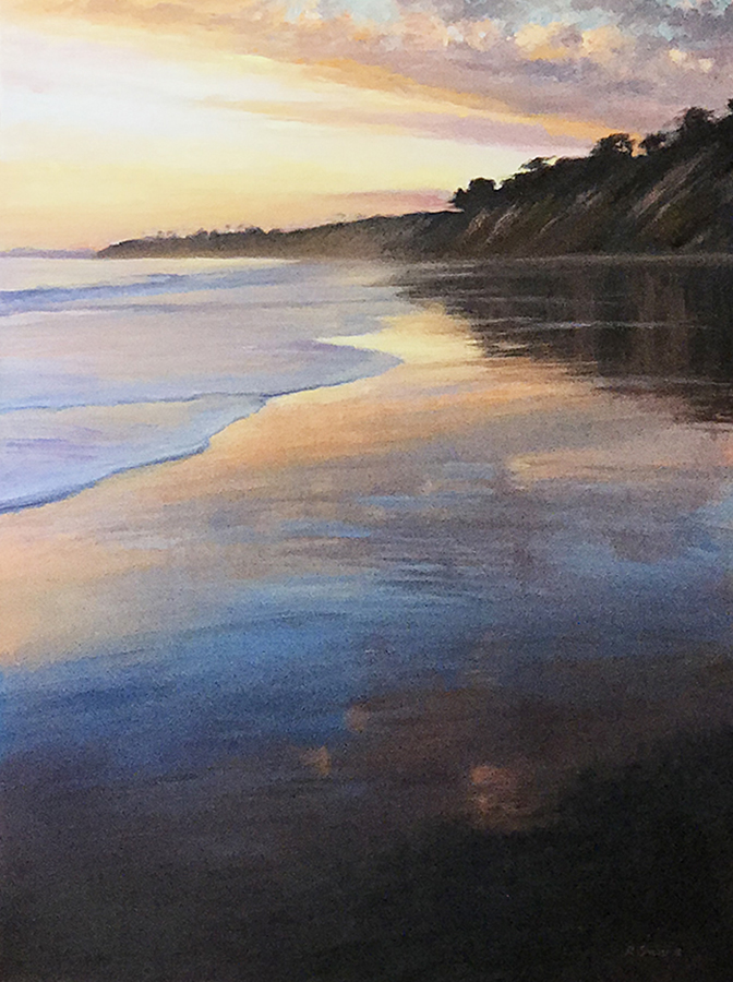 Beach Sunset, Hope Ranch Beach oil on canvas 32x24