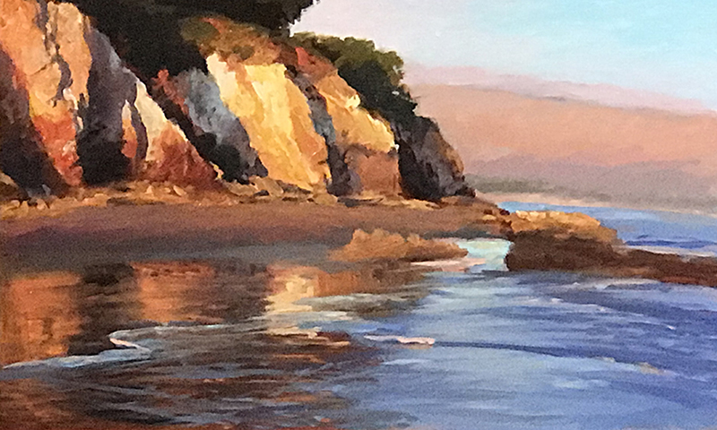 Evening Light, Shoreline Beach oil on canvas 10x16