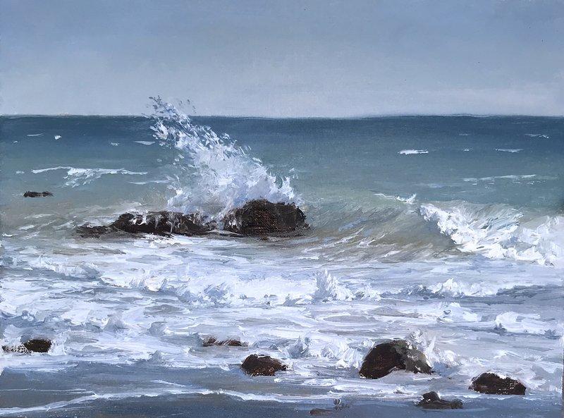 Malibu Surf, oil, 6x8