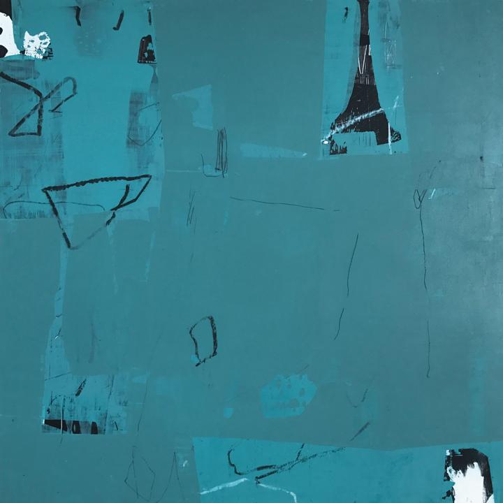 """Travelogue #1, Acrylic/mixed media on panel, 21x21"""""""