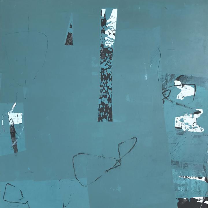 """Travelogue #2, Acrylic/mixed media on panel, 21x21"""""""
