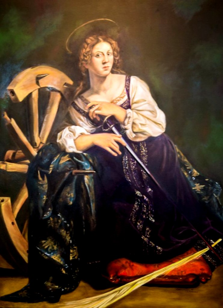 "Caravaggio's Saint Catherine, oil on canvas, 36"" x 48"""