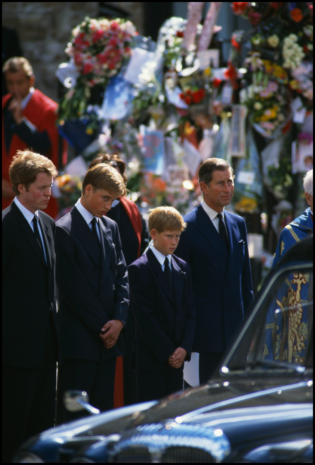 06 Sep 1997, London, England, UK --- Earl Charles Spencer, stands with Prince William, Prince Harry, and Prince Charles at the funeral of Diana, Princess of Wales